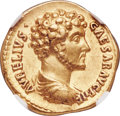 Ancients:Roman Imperial, Ancients: Marcus Aurelius, as Caesar (AD 139-161). AV aureus (20mm, 7.33 gm, 6h). NGC Choice XF 5/5 - 4/5....