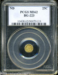 California Fractional Gold: , Undated 25C Liberty Round 25 Cents, BG-223, Low R.4, MS62 PCGS. ...