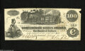Confederate Notes:1862 Issues, T39 $100 1862. The edges reveal a few small tears. Very Fine....