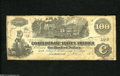Confederate Notes:1862 Issues, T39 $100 1862. Moisture stains run along the top and bottom of thisC-note. Very Good....