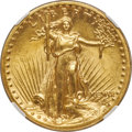 High Relief Double Eagles, 1907 $20 High Relief, Wire Rim MS63+ NGC. CAC....