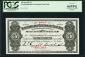 Canadian Currency, St. John's, NF- Newfoundland Government Cash Note $5 1907 Ch. # NF-6gs Specimen PCGS Gem New 66PPQ.. ...