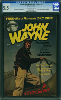 John Wayne Adventure Comics #3 (Toby Publishing, 1950) CGC FN- 5.5 OFF-WHITE TO WHITE pages