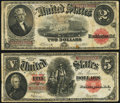 Large Size:Group Lots, Fr. 59 $2 1917 Legal Tender Very Good-Fine.. Fr. 91 $5 1907 Legal Tender Very Good-Fine.. ... (Total: 2 notes)