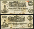 Confederate Notes:1862 Issues, T39 $100 1862 PF-1 Cr. 278; 279 Very Fine or better.. ... (Total: 2 notes)