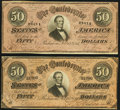 Confederate Notes:1864 Issues, T66 $50 1864 PF-8; -9 Cr. 499; 500 Very Fine.. ... (Total: 2 notes)