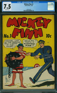 Mickey Finn #1 (Eastern Color, 1942) CGC VF- 7.5 OFF-WHITE pages