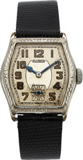 Timepieces:Wristwatch, Illinois Mate Engraved, 14K White Gold Filled, Manual Wind...
