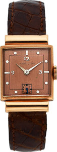 "Timepieces:Wristwatch, Hamilton Midas ""Coral,"" Rare Model, 14K Rose Gold, Manual Wind,Circa 1941. ..."