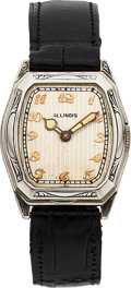 Timepieces:Wristwatch, Illinois Consul Engraved, Rare Model, 14K White Gold, Manu...
