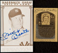 Autographs:Post Cards, Mickey Mantle Signed Hall of Fame Card Lot of 2....