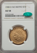 Indian Eagles: , 1908-D $10 No Motto AU58 NGC. CAC. NGC Census: (389/546). PCGS Population: (314/673). CDN: $875 Whsle. Bid for problem-free...