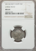 Haiti, Haiti: Republic 25 Centimes L'An 24 (1827) MS64 NGC,...