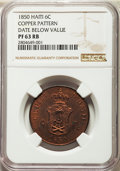 Haiti, Haiti: Faustin I copper Proof Pattern 6 Centimes 1850 PR63 Red andBrown NGC,...