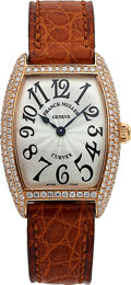 Timepieces:Wristwatch, Franck Muller, Ladies Cintree Curvex, 18K Rose Gold and Diamond,Quartz, Ref. 1752QZ, No. 761, Circa 2000s . ...