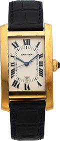 Timepieces:Wristwatch, Cartier, Tank Americaine, 18K Pink Gold, Automatic, Ref. 8172984, Circa 2000s. ...