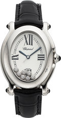 Timepieces:Wristwatch, Chopard, Ladies Happy Sport Oval, Stainless Steel and Diamond,Quartz, Ref. 8937, Circa 2000s. ...