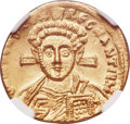Ancients:Byzantine, Ancients: Justinian II Rhinotmetus, second reign (AD 705-711). AV solidus (19mm, 4.48 gm, 6h). NGC MS 4/5 - 4/5....