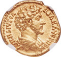 Ancients:Roman Imperial, Ancients: Marcus Aurelius, as Caesar (AD 139-161). AV aureus (19mm, 7.20 gm, 11h). NGC AU 5/5 - 4/5. ...