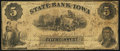 Obsoletes By State:Iowa, Council Bluffs, IA- State Bank of Iowa Counterfeit $5 May 1, 1861Very Good.. ...