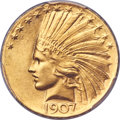 Indian Eagles, 1907 $10 Wire Rim MS66 PCGS Secure....
