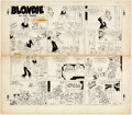Original Comic Art:Comic Strip Art, Chic Young Blondie Sunday Comic Strip Original Art dated 11-19-50 (King Features Syndicate, 1950). ...