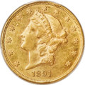 Liberty Double Eagles, 1891 $20 AU58 PCGS Secure....