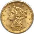 Liberty Quarter Eagles, 1905 $2 1/2 MS66 PCGS. PCGS Population: (331/102 and 29/10+). NGC Census: (339/113 and 20/12+). MS66. Mintage 217,800....