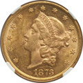 Liberty Double Eagles: , 1873 $20 Open 3 MS60 NGC. NGC Census: (1120/3540). PCGS Population: (929/4157). MS60. . From The San Juan Collection. ...