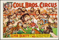 """Circus Poster (Cole Brothers, 1930s) Very Fine- on Linen. Poster (28"""" X 42""""). Miscellaneous"""