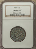 1849 1C MS64 Brown NGC. NGC Census: (23/15). PCGS Population: (32/11). CDN: $1,000 Whsle. Bid for problem-free NGC/PCGS...