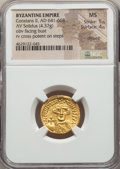 Ancients:Byzantine, Ancients: Constans II Pogonatus (AD 641-668). AV solidus (20mm,4.37 gm, 7h). NGC MS 5/5 - 4/5, clipped. ...