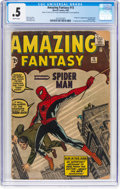 Silver Age (1956-1969):Superhero, Amazing Fantasy #15 (Marvel, 1962) CGC PR 0.5 Brittle pages....