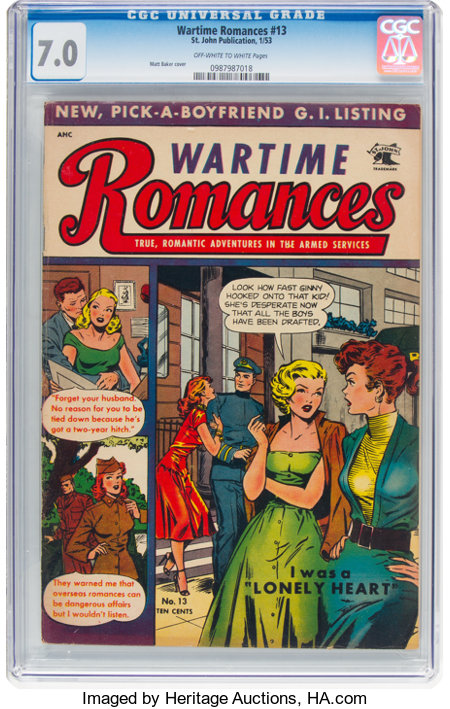 Wartime Romances #13 (St. John, 1953) CGC FN/VF 7.0 Off-white to white pages....
