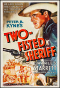 "Movie Posters:Western, Two-Fisted Sheriff (Columbia, 1937). Fine+ on Linen. One Sheet (27"" X 41""). Western.. ..."