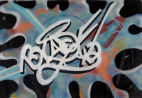 Blade (American, b. 1957) Time Warp, 1984 Acrylic and spray paint on canvas 52 x 72 inches (132.1