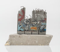 After Banksy Souvenir Wall Section, 2017 Painted cast resin with concrete 4-1/4 x 5 x 3-1/4 inch
