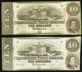 Confederate Notes:1863 Issues, T59 $10 1863 PF-26; -35 Cr. 443; 444 Very Fine.. ... (Total: 2notes)