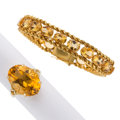 Estate Jewelry:Lots, Citrine, Gold Jewelry . ... (Total: 2 Items)