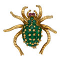 Estate Jewelry:Brooches - Pins, Emerald, Ruby, Gold Brooch. ...