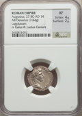 Ancients:Roman Imperial, Ancients: Augustus (27 BC-AD 14). AR denarius (19mm, 3.84 gm, 10h).NGC XF 4/5 - 2/5....