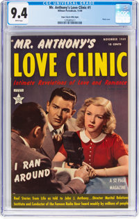 Mr. Anthony's Love Clinic #1 Mile High Pedigree (Hillman Publications, 1949) CGC NM 9.4 White pages