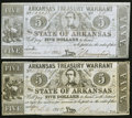 Obsoletes By State:Arkansas, (Little Rock), AR- State of Arkansas $5 (2) 1862-64 Cr. 50, 50B Fine or better.. ... (Total: 2 notes)