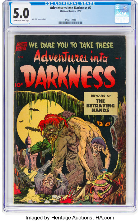 Adventures Into Darkness #7 (Standard, 1952) CGC VG/FN 5.0 Cream to off-white pages....