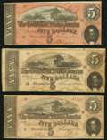 Confederate Notes:1864 Issues, T69 $5 1864 PF-1 (2); PF-5 Cr. 558 (2); 560 Very Good-Fine or better.. ... (Total: 3 notes)