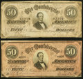 Confederate Notes:1864 Issues, T66 $50 1864 PF-3; -5 Cr. 497; 498 Very Good-Fine.. ... (Total: 2 notes)
