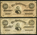 Confederate Notes:1864 Issues, T66 $50 1864 PF-3; -5 Cr. 497; 498 Fine or better.. ... (Total: 2 notes)