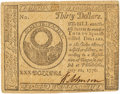 Colonial Notes:Continental Congress Issues, Continental Currency. July 22, 1776 $30 Newman 1.1 Contemporary Counterfeit Fr. CC-46CF. PCGS Very Fine 30.. ...