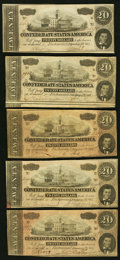 Confederate Notes:1864 Issues, T67 $20 1864 PF-25; -26; -32; -33; -35 Cr. 525; 526; 532; 533; 535 Very Good or better.. ... (Total: 5 notes)