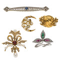 Estate Jewelry:Brooches - Pins, Diamond, Multi-Stone, Cultured Pearl, Gold Brooches. ... (Total: 5 Items)